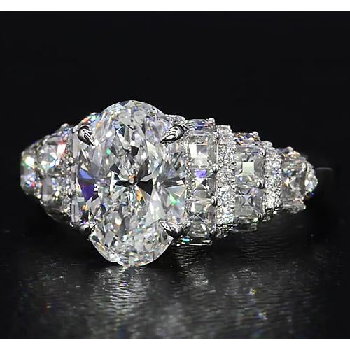 Engagement Ring Diamond Ring 8 Carats Antique Style Claw Prong Setting