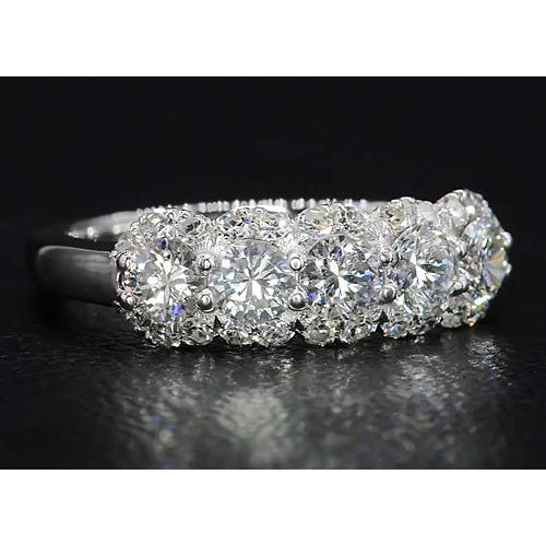 Diamond Ring 4.50 Carats White Gold Half Eternity Band