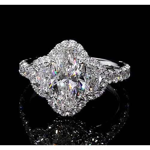 Halo Ring Diamond Halo Ring 10 Carats Pear Shape Accented White Gold 14K