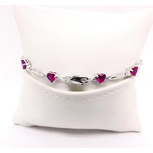 Gemstone Bracelet Heart Shape Rhodolite Garnet Diamond Bracelet 9.54 Carats Jewelry New