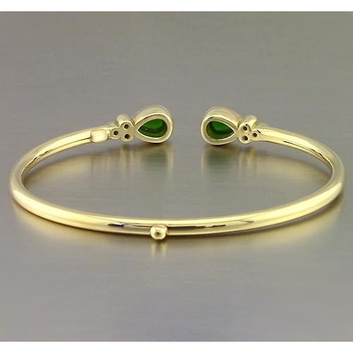 Gemstone Bracelet Yellow Gold Green Emerald Gemstone Bracelet 2.30 Carats Women Jewelry New