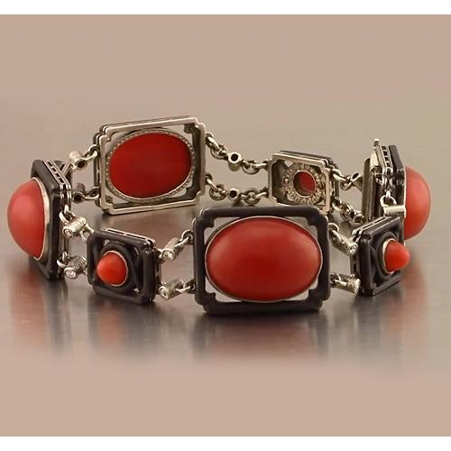 Gemstone Bracelet Red Coral Bracelet 88.42 Carats Women Jewelry New