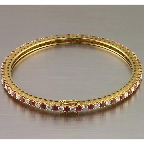 Bangle Ruby And Diamond Tennis Bangle 3.75 Carats Yellow Gold New