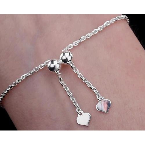 Chain Bracelet 2 Carats Diamond Bracelet Cross Prong Set Women White Gold Jewelry