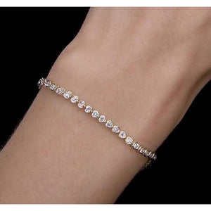 Women Diamond Bracelet 5 Carats Bezel Set Yellow Gold New