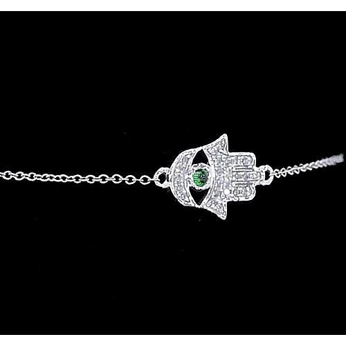 Hamsa Ladies Diamond Bracelet Cabochon Columbian Green Emerald 1.75 Carats F Vs1 Aaa Gemstone Bracelet