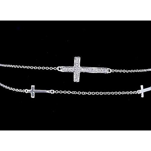 Chain Bracelet Diamond Cross Bracelet 2 Carats White Gold 14K Jewelry