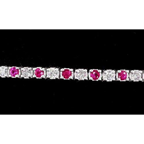 Gemstone Bracelet Tennis Bracelet Diamond Pink Sapphire Prong Set 4 Carats White Gold