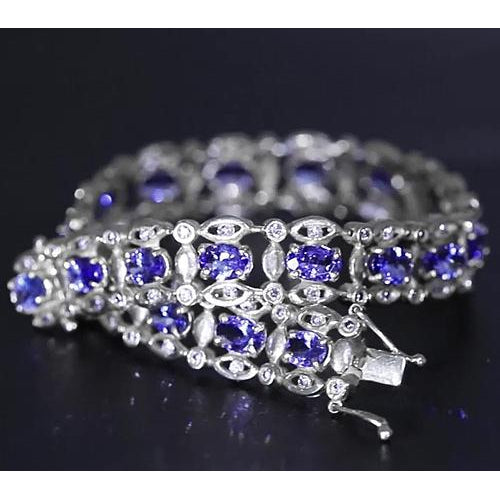 Gemstone Bracelet Ceylon Blue Diamond Bracelet 15 Carats White Gold Women Jewelry