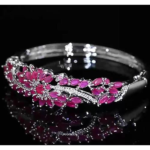 Gemstone Bracelet Diamond Bangle Pink Sapphire 14 Carats Women White Gold Jewelry 14K