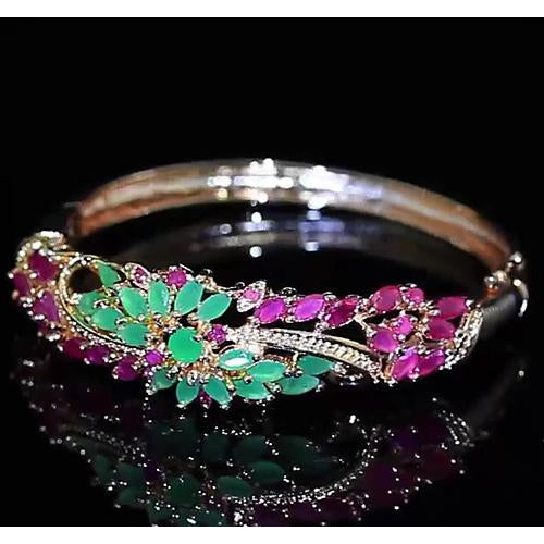 Diamond Bangle Jade Pink Sapphire 14 Carats Women Yellow Gold Jewelry 14K Gemstone Bracelet