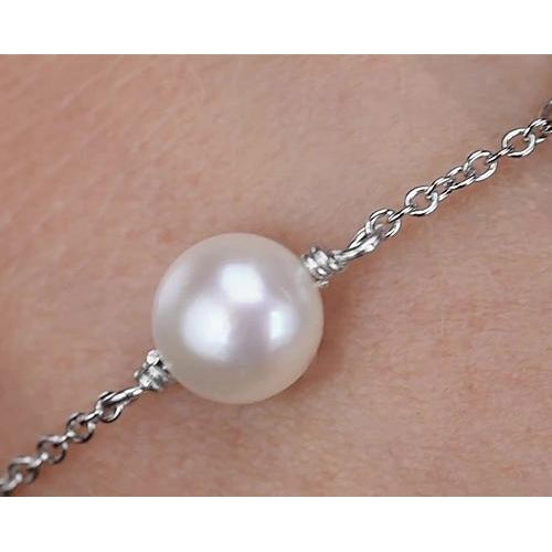 Gemstone Bracelet Pearl Bracelet 12 Mm Women White Gold New