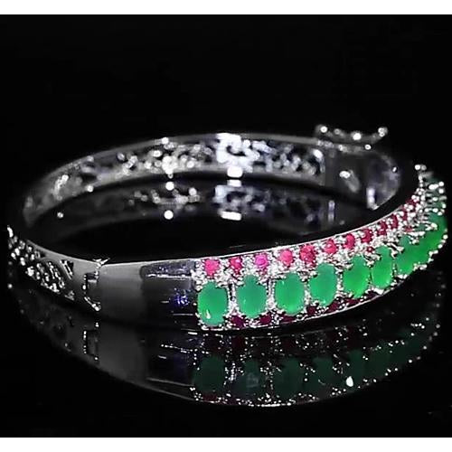Gemstone Bracelet Jade Diamond Bangle Pink Sapphire 28.90 Carats Women White Gold 14K