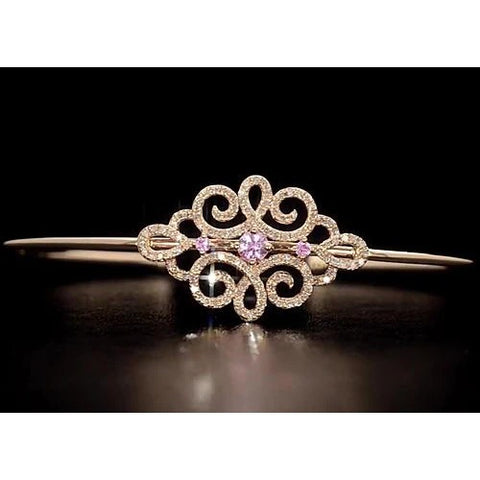Women Diamond Bangle Pink Sapphire 5 Carats Yellow Gold 14K