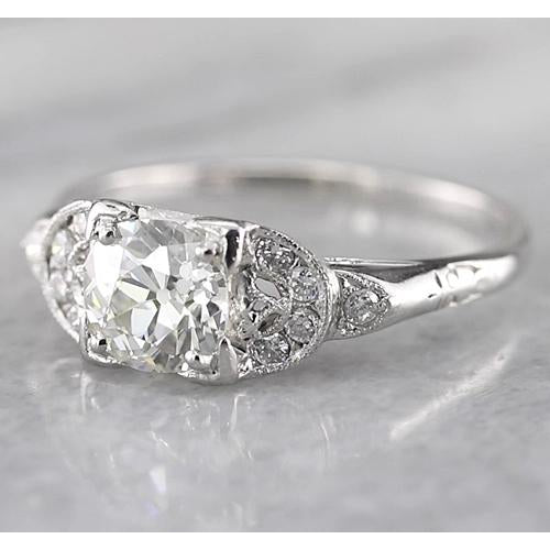 Engagement Ring Old Miner Round Diamond Ring 1.50 Carats White Gold 14K