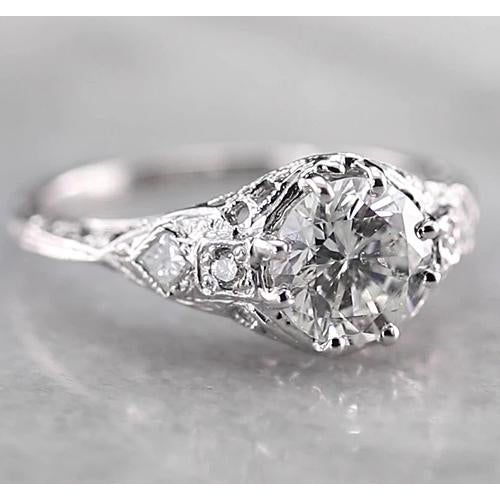 Engagement Ring Antique Style Round Diamond Ring 2 Carats White Gold 14K