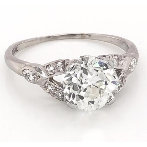 Engagement Ring Old Mine Cut Diamond Ring Split Shank 1.60 Carats Women Jewelry