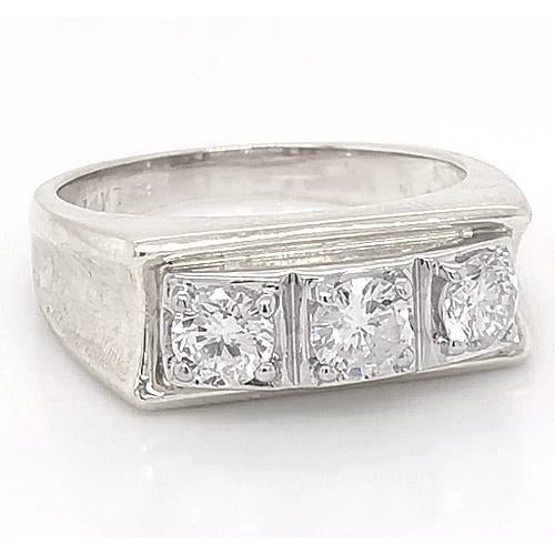 3 Stone Men Engagement Band 2.25 Carats Prong Set White Gold 14K Mens Ring