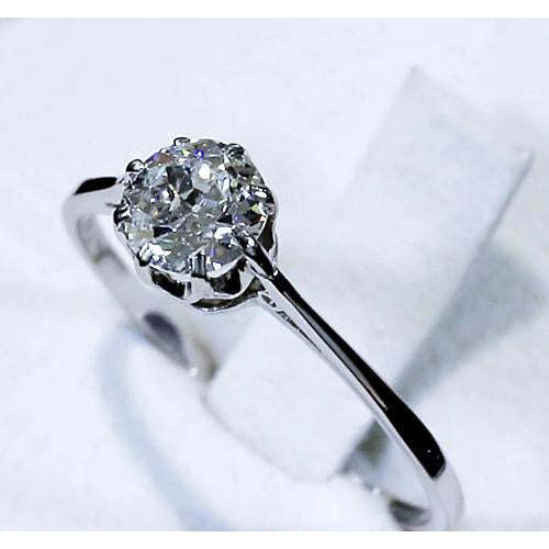 Solitaire Ring Old Miner Diamond 1 Carat White Gold Solitaire Ring