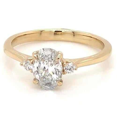 Three Stone Ring 3 Stone Engagement Ring 2 Carats Oval Cut Women Yellow Gold 14K