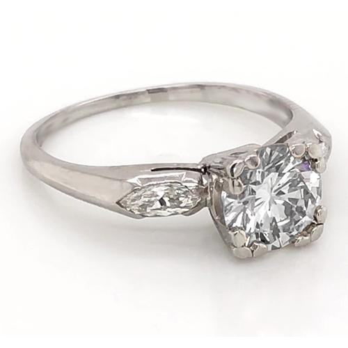 Three Stone Ring 2.30 Carats Round Diamond Three Stone Ring Marquise White Gold 14K