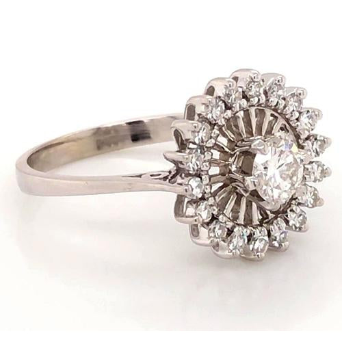 Halo Ring Engagement Ring Flower Stlye 2 Carats Antique Style White Gold 14K