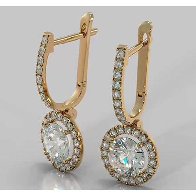 Drop Earrings Hoop Earrings Round Diamond 4.50 Carats 2.35 Inches