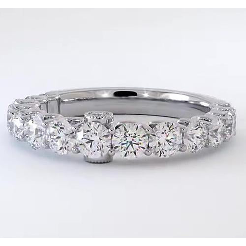 Graduated Round Diamond Band F Vs1 Vvs1 White Gold 14K Half Eternity Band