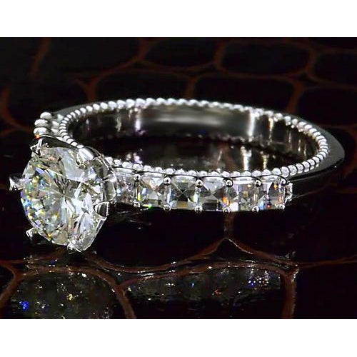 Solitaire Ring with Accents Diamond Engagement Ring 2.50 Carats Vintage Style White Gold