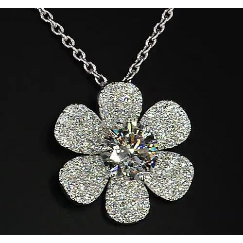 Pendant Diamond Pendant Flower 3.50 Carats White Gold 14K F Vs1 New