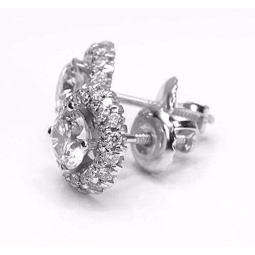 Halo Stud Earrings Halo Style Round Diamond Stud Earring 2.50 Carats White Gold 14K