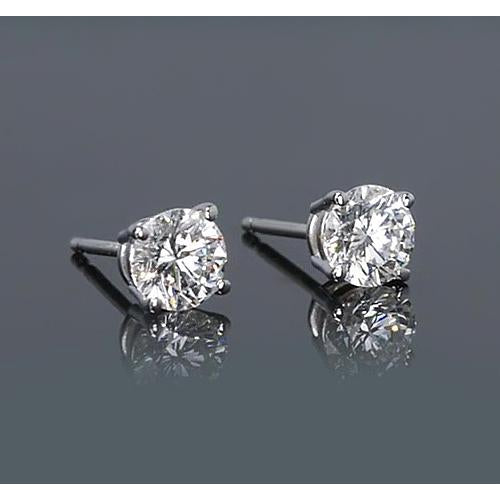 Stud Earrings Round Diamond Stud Earrings 1.50 Carats Prong Style White Gold 14K