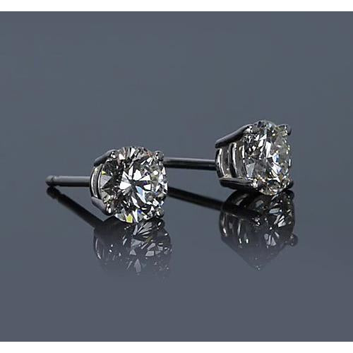 Stud Earrings Four Prong Diamond Stud Earring 1.30 Carats White Gold 14K Jewelry