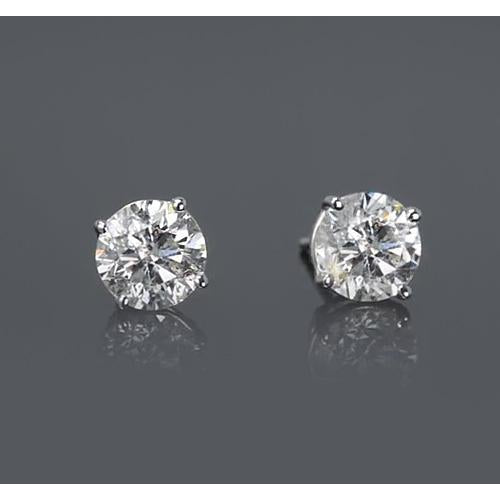 Four Prong Round Diamond Stud Earring F VS1 2 Carats