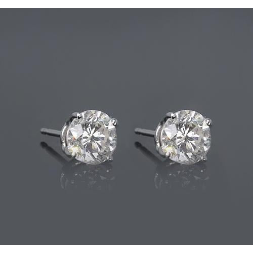 Four Prong Setting Round Diamond Stud Earring 1.50 Carats