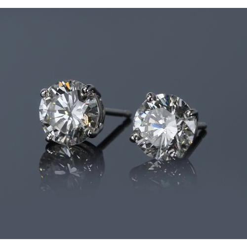 White Gold 14K Prong Round Diamond Stud Earring G SI1 2 Carats