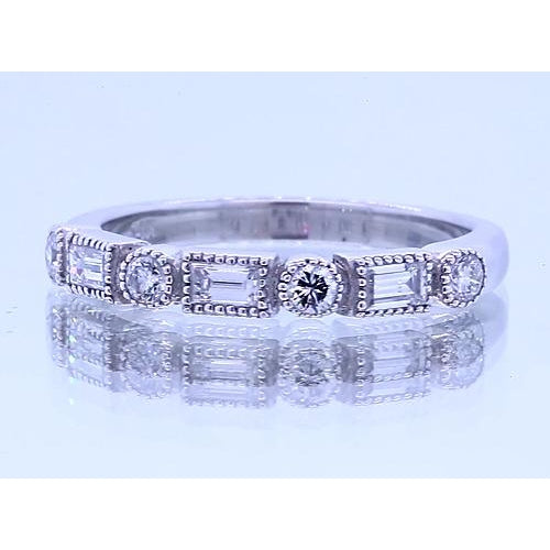 Band 1.20 Carats Round & Baguettes Diamond Anniversary Band White Gold 14K
