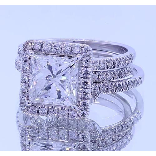 Halo Ring 3.50 Carats Princess Cut Diamond Halo Fancy Ring White Gold 14K