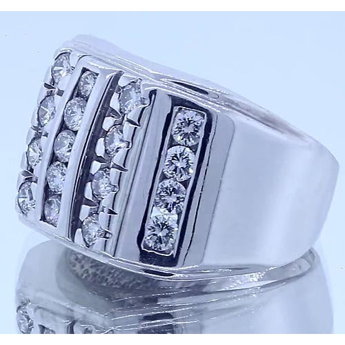Mens Ring 2.10 Carats Gents Ring Round Diamonds White Gold 14K Vs1 F