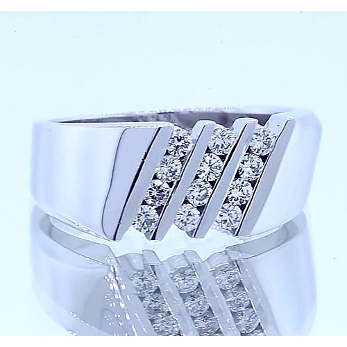 Band Round Diamond Anniversary Band Thick Shank White Gold 14K 1.20 Carats