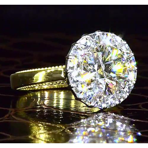 Halo Ring 2.50 Carats Yellow Gold 14K Round Halo Diamond Engagement Ring