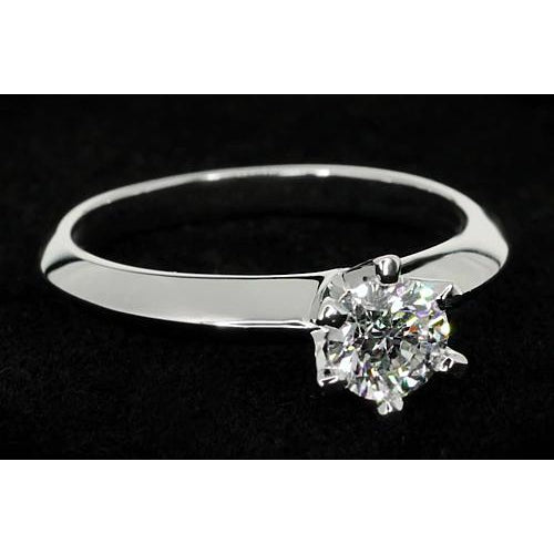 One Diamond Solitaire Round Promise Ring 1 Carat Six Prong Set Solitaire Ring