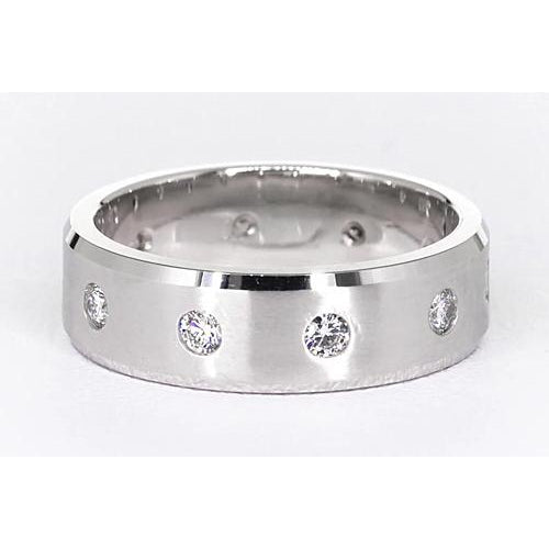 Band Satin Finish Anniversary Band Round Diamonds White Gold 14K Vs1 F Brushed Finish