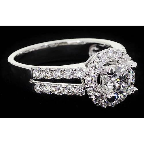 Halo Ring Diamond Anniversary Ring 2 Carats Halo White Gold 14K Jewelry