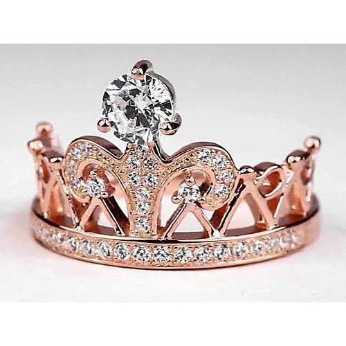 Anniversary Ring Crown Style Round Diamond Anniversary Ring 1.50 Carats Rose Gold 14K Jewelry