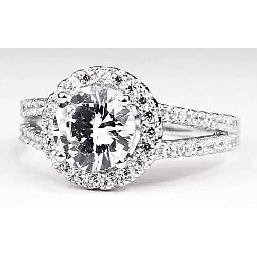 Halo Ring Diamond Halo Engagement Ring 3.50 Carats White Gold 14K