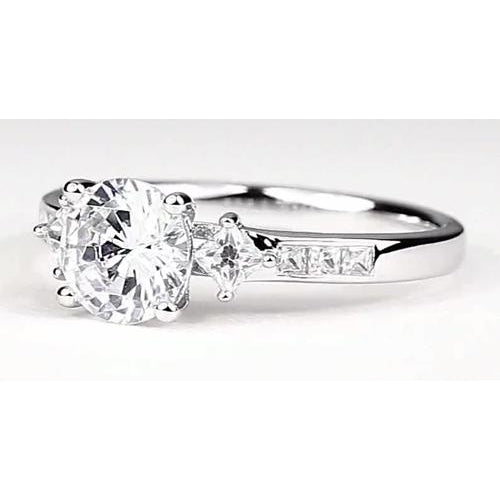 Engagement Ring Engagement Ring 2 Carats Round Diamond White Gold 14K Vs1 F