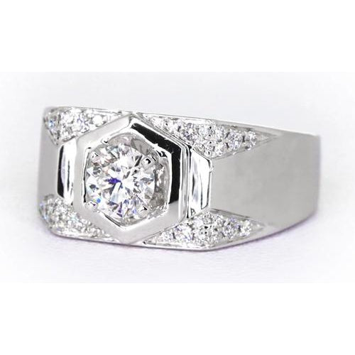 Mens Ring Thick Shank Mens' Anniversary Band Round Diamond 1.75 Carats