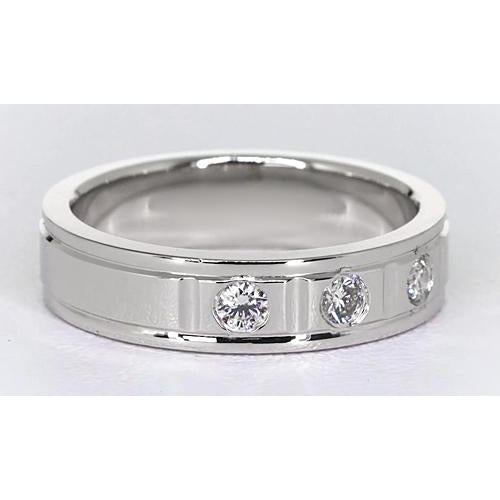Anniversary Band 0.75 Carats Round Diamond White Gold 14K Mens Ring