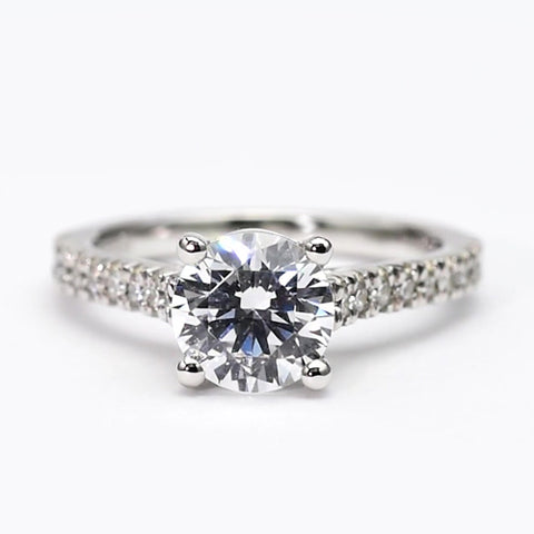 Round Diamond Solitaire Ring With Accents